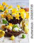 easter table decoration with... | Shutterstock . vector #243655735