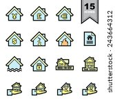 real estate line icons set... | Shutterstock .eps vector #243664312