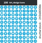 100 art  design icons  blue...