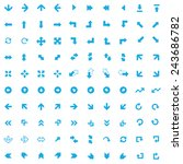 100 arrows icons  blue on white ... | Shutterstock .eps vector #243686782