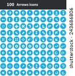 100 arrows icons  blue circle...