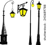 illustration with street lamps... | Shutterstock .eps vector #243689788
