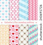 eight seamless patterns with... | Shutterstock .eps vector #243691726