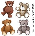 four teddy bears on a white... | Shutterstock .eps vector #243691768