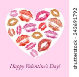 lip prints on the background... | Shutterstock . vector #243691792