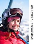 Portrait Of A Woman Skier ...