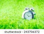 silver alarm clock on green... | Shutterstock . vector #243706372
