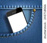 mobile phone in pocket jeans ... | Shutterstock .eps vector #243718066