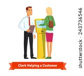 clerk helping woman at the... | Shutterstock .eps vector #243736546