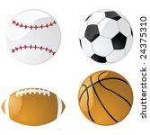 Vector illustration of four glossy sport balls: baseball, football (soccer), American football and basketball - stock vector