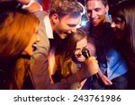 happy friends singing karaoke... | Shutterstock . vector #243761986