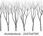 Black Trees On White Backgroun...