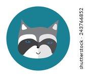 cartoon racoon flat icon