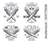 car service spark plug emblems... | Shutterstock .eps vector #243770038
