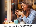 woman viewed through window of... | Shutterstock . vector #243770785