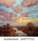 Sunset Landscape Oil Painting