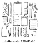 set of stationery drawings.... | Shutterstock .eps vector #243781582