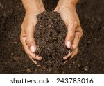 Small photo of Hand holding soil,Hand dirty with soil