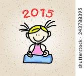hand drawing cartoon happy... | Shutterstock .eps vector #243788395