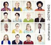 protrait of group diversity... | Shutterstock . vector #243793402