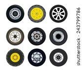 different wheels on land... | Shutterstock . vector #243799786
