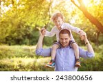 little boy and his dad enjoying ... | Shutterstock . vector #243800656