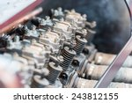 Old Car Internal Combustion Engine Pistons Close Up - stock photo