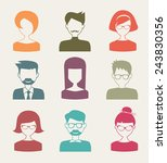 trendy flat people icons | Shutterstock .eps vector #243830356