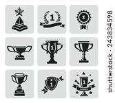 vector set of black trophy and... | Shutterstock .eps vector #243834598