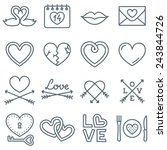 set of 16 thin line icons for... | Shutterstock .eps vector #243844726