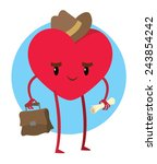 big red heart in man's hat with ... | Shutterstock .eps vector #243854242