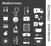 set of black white medical... | Shutterstock .eps vector #243866236