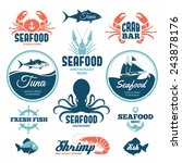 set of seafood labels and signs  | Shutterstock . vector #243878176