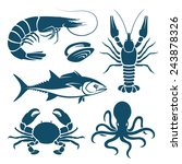 set of blue seafood symbols | Shutterstock . vector #243878326