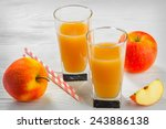 glass of apple juice with apple ... | Shutterstock . vector #243886138