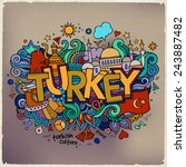 turkey hand lettering and...   Shutterstock .eps vector #243887482