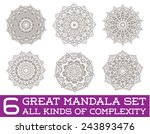 set of ethnic fractal mandala... | Shutterstock .eps vector #243893476