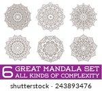 Set Of Ethnic Fractal Mandala...