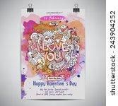 vector love doodles watercolor... | Shutterstock .eps vector #243904252