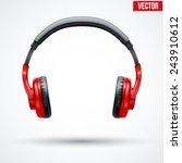 realistic black headphones.... | Shutterstock .eps vector #243910612