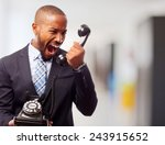 young cool black man shouting... | Shutterstock . vector #243915652