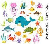 Set Of Cute Cartoon Underwater...
