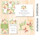 set of invitations with floral...   Shutterstock .eps vector #243923146