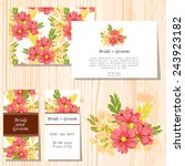 set of invitations with floral... | Shutterstock .eps vector #243923182