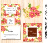 set of invitations with floral... | Shutterstock .eps vector #243923248