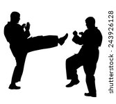 Black Silhouettes Of Karate....