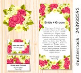 set of invitations with floral... | Shutterstock . vector #243933592