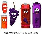 funny cartoon grape and juice...   Shutterstock .eps vector #243935035