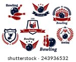 bowling sports emblems and...