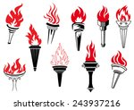 vintage torches with burning...